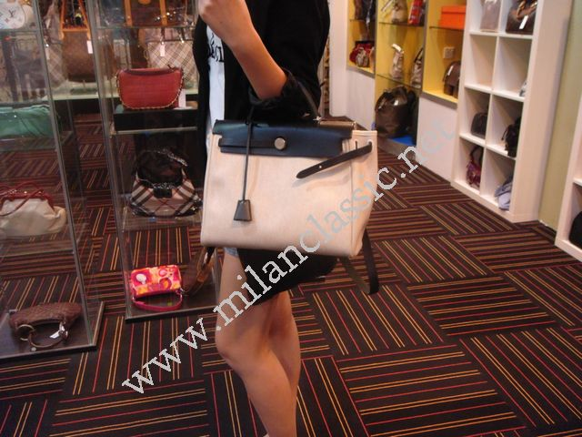 SOLD--Hermes Unisex Medium Her Bag(Canvas + Leather)_CHERAS_100 ...
