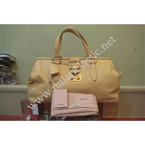 NEW - Miu Miu Beige Leather Handbag