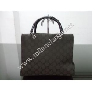 SOLD(已售出) - Gucci Dark Brown Canvas Bamboo Shoulder Bag