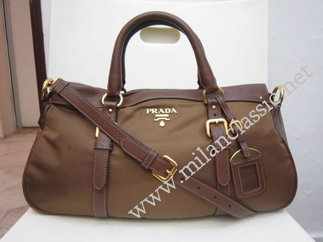 replica prada handbags sale - SOLD - Prada Brown Nylon Leather Hand / Sling Bag (Large ...