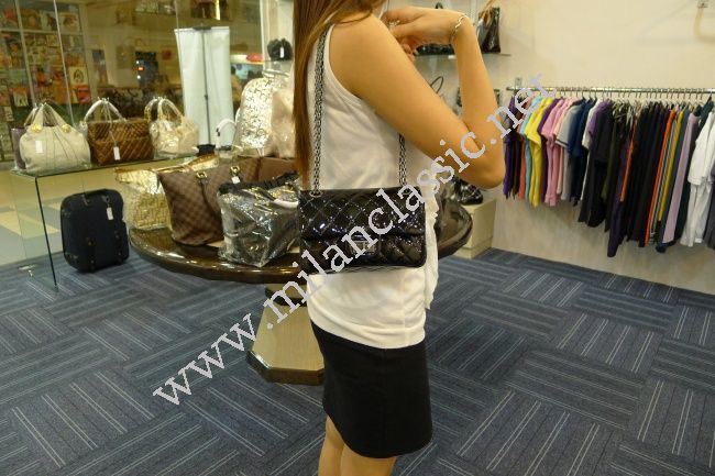 87bcffce2d415d SOLD(已售出)NEW - Chanel 2.55 Reissue Baby 224 Black Metallic Patent Leather  Silver Hardware