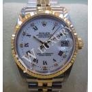 Rolex-68273 Boysize White Dial Roman Letter Diamond 18K+SS Auto 30mm(With Box)
