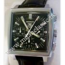 RESERVED WITH DEPOSIT-TAG Heuer-Monaco Chrono Black Dial Auto Steel/Leather 38x40mm (With Box)