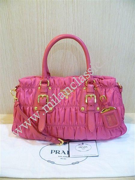 NEW - Prada Pink Nylon Zipped Gaufre Hand Sling Bag (Medium) NEW ... 3fe7f9ed2e5b1