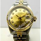 Rolex 69173 Lady Gold Dial With Diamond 18K+SS Auto 26mm (With Box)