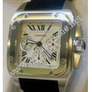 Cartier Santos 100 XL Chrono Roman Letter Dial Auto Steel/Leather 41.2x54.3mm (With Box)