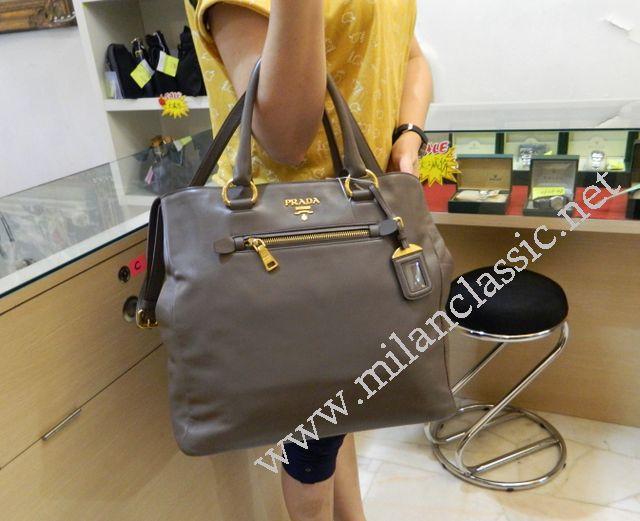7f8385fcb7f4 SOLD(已售出) - Prada Grey Soft Calf Leather Baltico Tote Bag NEW ...