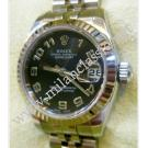 Rolex 179174 Ladies Black Concentric Arabic Numeral Dial Auto 18K/SS 26mm (With Box)