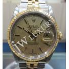 Rolex 16233 Gents Gold Linen Index Dial 18K+SS Auto 36mm (with Box)