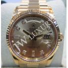 Rolex 118238 Gold With Diamond Dial 18K Yellow Gold Auto 36mm (With Card + Box)