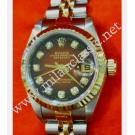 Rolex Ladies 69173 Two Tone Maroon with Diamonds Index Auto 18K/SS 26mm (With Box & Paper)