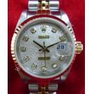 Rolex 69173 Ivory Computerize With Diamond Dial Auto 18K/SS 26mm (With Box)