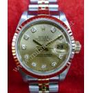 Rolex 69173 Lady Gold Dial With Diamonds 18K+SS Auto 26mm (With Paper + Box)