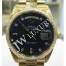 Rolex 18078 Black Dial With Diamond Bark Bezel 18K Yellow Gold Auto 36mm (With Card + Box)