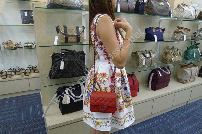05ddddef0bf753 SOLD-Chanel Classic Flap Bag Mini In Red Lambskin Dark Silver Hardware