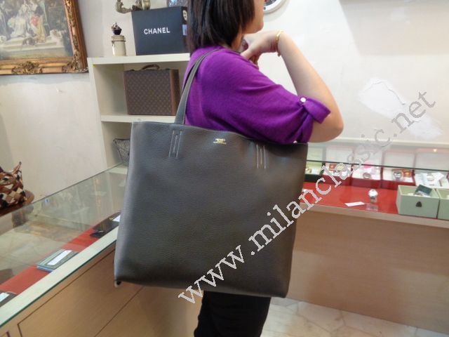 25e95b08025a reduced new hermes double sens 36cm reversible tote bag bamboo green lead  grey clemence r stamp