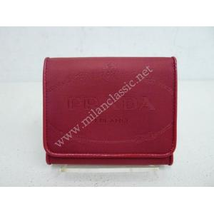 NEW - Prada Red Nylon 3-Compartments Short Wallet