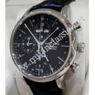 RESERVED WITH DEPOSIT - NEW- Maurice Lacroix-Les Classiques de Lune Chrono Black Dial Auto Steel/Leather 41mm (Box + Car