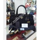 Prada Gaufre Nylon Tessuto in Black Color Small Top Handle Tote Bag