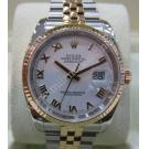 "Rolex 116233 Gents White Roman Letter 18K+S/S Auto 36mm ""F-Series"" (With Box)"