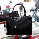 Prada Saffiano Leather Lux O Nero Center Zip Medium Black Tote Bag