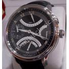 NEW-Maurice Lacroix Masterpiece Double Retrograde Black Dial Hand Wind Steel/Leather 46mm (Box + Card)
