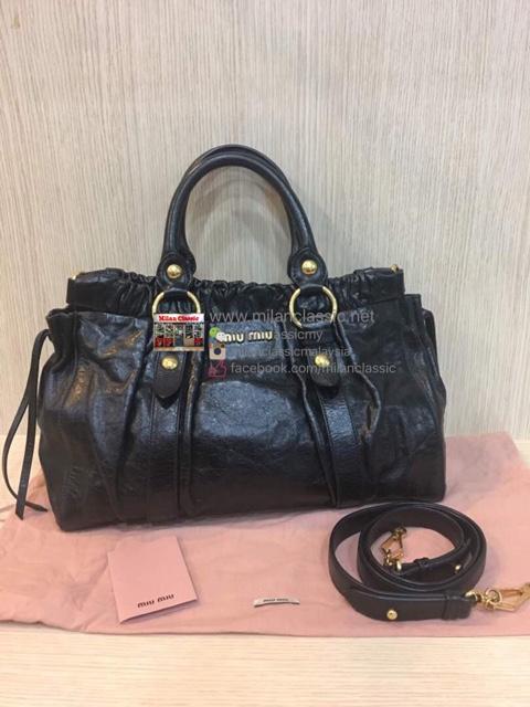 Miu Bag Malaysia Price Source Black Aged Leather 2 Way Bags Milanclassic