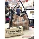 BURBERRY Waterproof Canvas Dark Brown Leather Trim Shoulder Bag (With Removable Pouch)