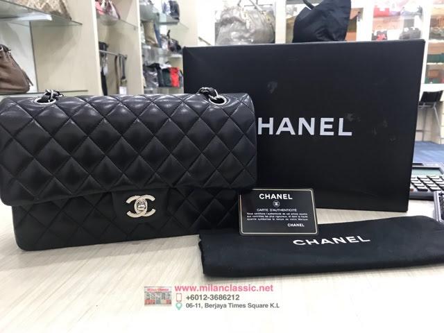 14618e6cd68f SOLD - CHANEL Classic Double Flap Black Lambskin SHW Medium Bag