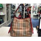 BURBERRY Red Trim Check Tote With Pouch