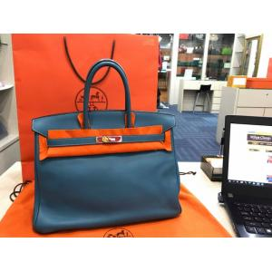 "HERMES BIRKIN 35 Swift Blue Jean Palladium ""J"""