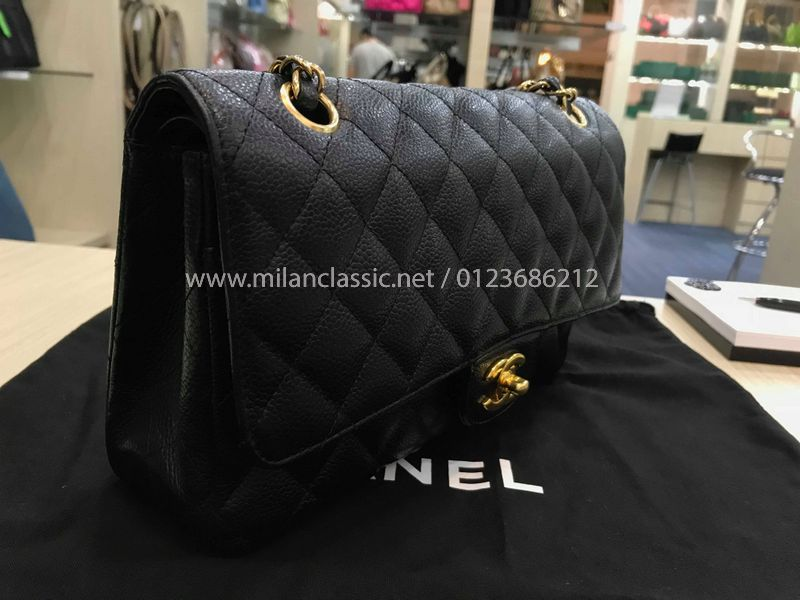 66411ed2d762 SOLD - CHANEL Grained Calfskin   Gold-Tone Metal Classic Handbag (10 Inches)