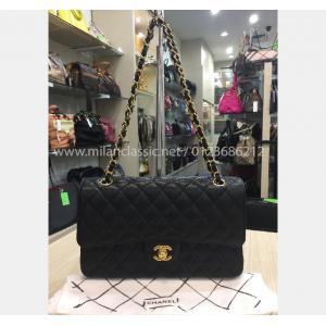 a59142e959 CHANEL Grained Calfskin   Gold-Tone Metal Black Classic Handbag