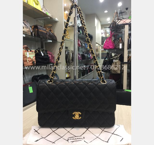 299029ff SOLD - CHANEL Grained Calfskin & Gold-Tone Metal Black Classic ...