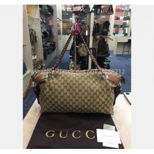 GUCCI Weave Leather Canvas Bag Large
