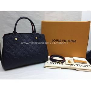 NEW - LV Montaigne MM Monogram Empreinte Leather Marine Rouge Color