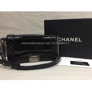 CHANEL Old Medium Boy Black Patent Leather  Ruthenium Hardware