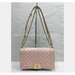 CHANEL Boy Pink Patent Leather With Gold Hardware