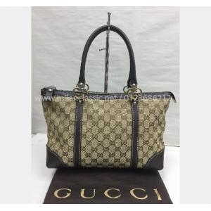 SOLD - GUCCI Canvas Brown Leather Trim Tote Bag
