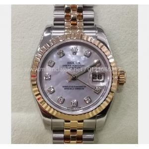 "SOLD - ROLEX 179173 Ladies MOP Diamonds Index Dial Auto 18K/SS 26mm ""V-Serial"" (With Card + Box)"