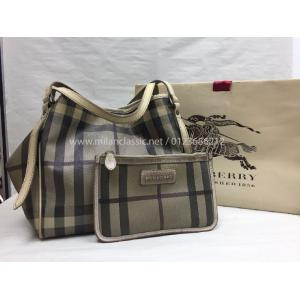 BURBERRY Brown Canvas Shoulder Bag With Small Pouch