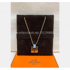 NEW - HERMES Blue Eileen Pendant Gold Plated Necklace