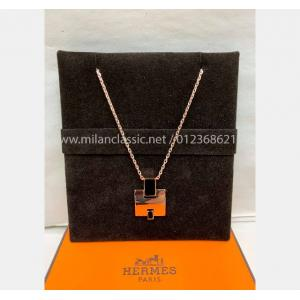 NEW - HERMES Black Eileen Pendant Rose Gold Plated Necklace