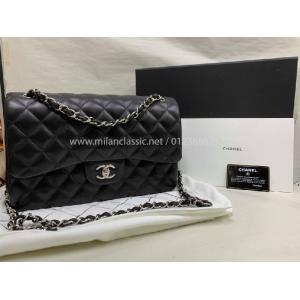 SOLD - CHANEL Classic Jumbo Black Lambskin Double Flap SHW