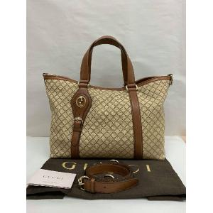 NEW - Gucci Double G Tote Canvas Brown Leather Trim Hand/Crossbody