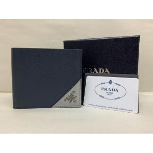 SOLD - PRADA Saffiano Leather Baltic Blue/Granite Gray Wallet