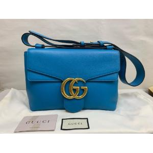 GUCCI Marmont GG Crossbody Blue Leather Purse Bag