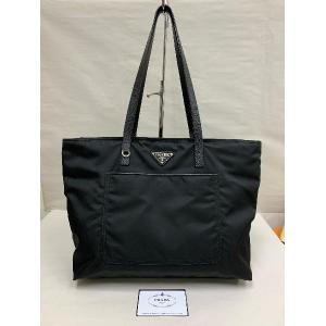 PRADA Black Nylon Shoulder Tote Bag