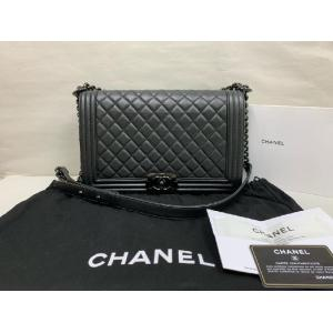 SOLD - CHANEL Black Quilted Grained Lambskin & Ruthenium Metal New Medium Boy