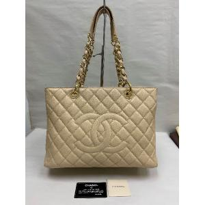 CHANEL Beige Caviar Grand Shopping Tote GHW